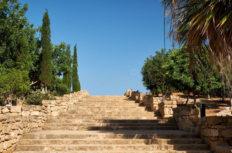 De trap in het Archeologische Park Paphos Cyprus stock afbeelding