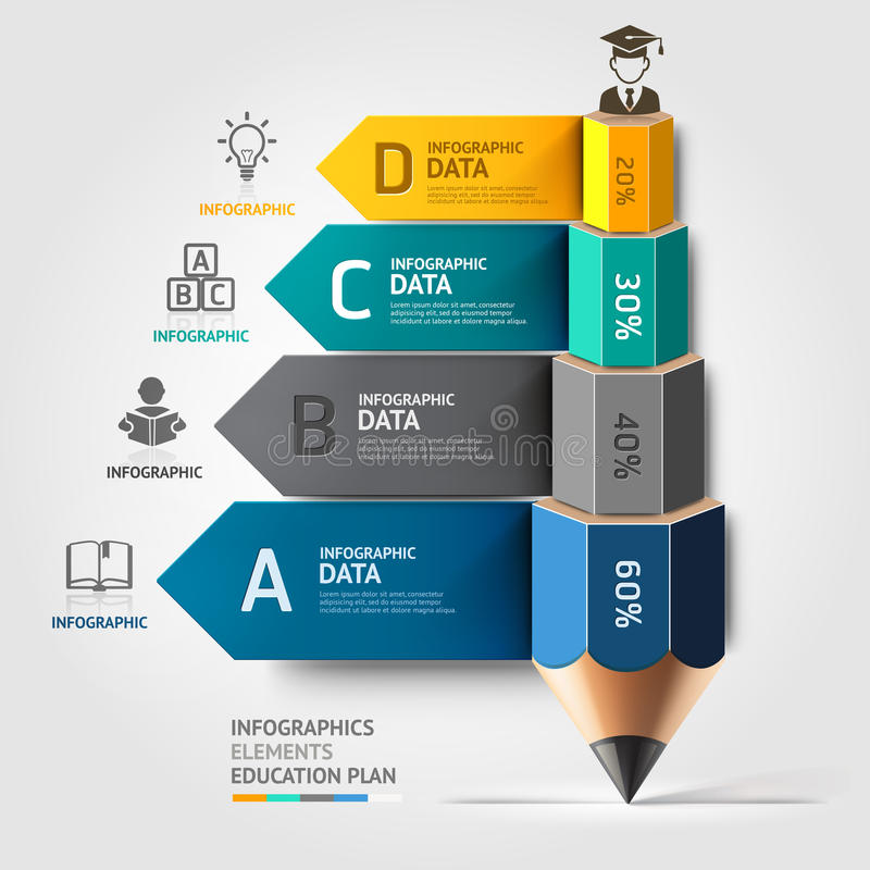 De trap Infographics o van het bedrijfsonderwijspotlood vector illustratie