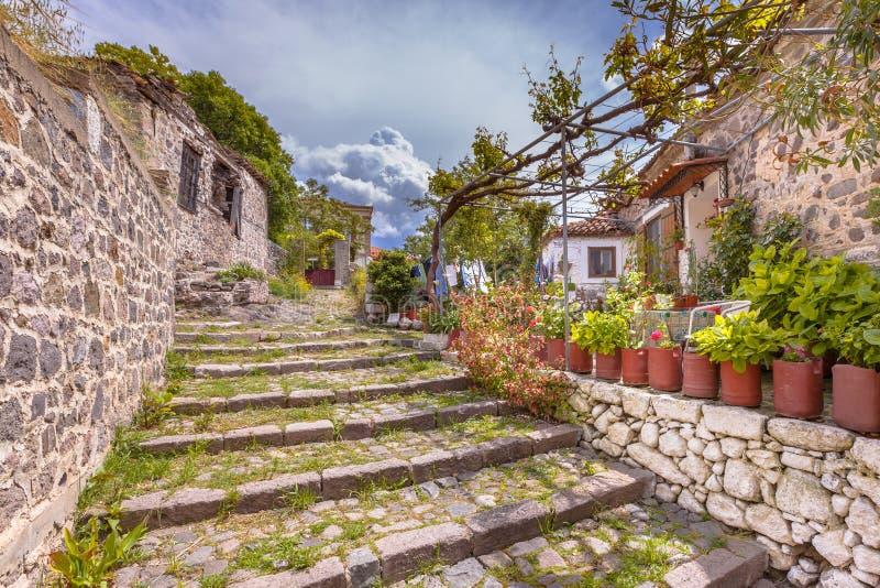 De trap van de rotssteeg met tuinen op Lesbos-eiland Griekenland stock afbeeldingen