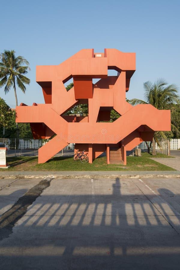 DE TRAP VAN THAILAND CHONBURI BANGSAEN stock afbeeldingen