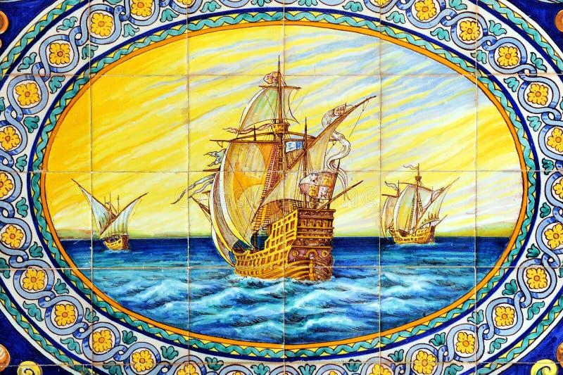 De tre caravelsna av Christopher Columbus, La Rabida, Huelva landskap, Spanien arkivbilder