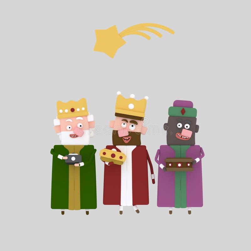 De tre magiska konungarna 3d royaltyfri illustrationer