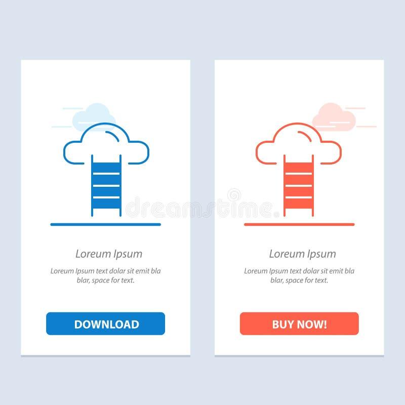 De trede, Wolk, Gebruiker, zet Blauwe en Rode Download om en koopt nu de Kaartmalplaatje van Webwidget stock illustratie