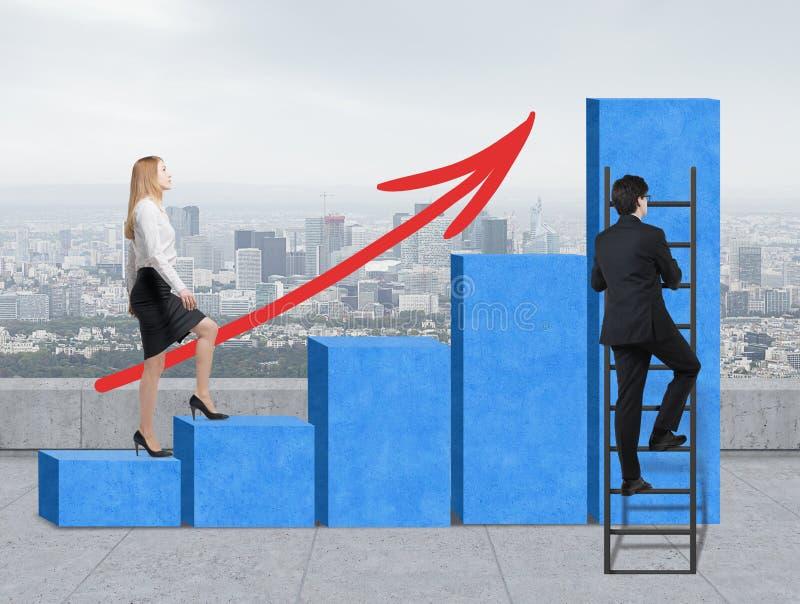 De treden als reusachtige blauwe grafiek zijn op het dak, de mening van New York Een vrouw stijgt naar de treden, terwijl een men royalty-vrije stock foto