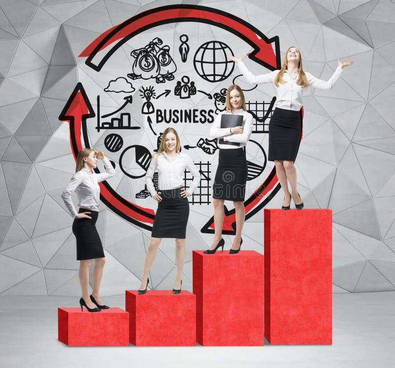 De treden als reusachtige rode grafiek zijn in de ruimte met concrete vloer en eigentijdse muur De bedrijfsvrouwen bevinden zich  royalty-vrije stock afbeeldingen