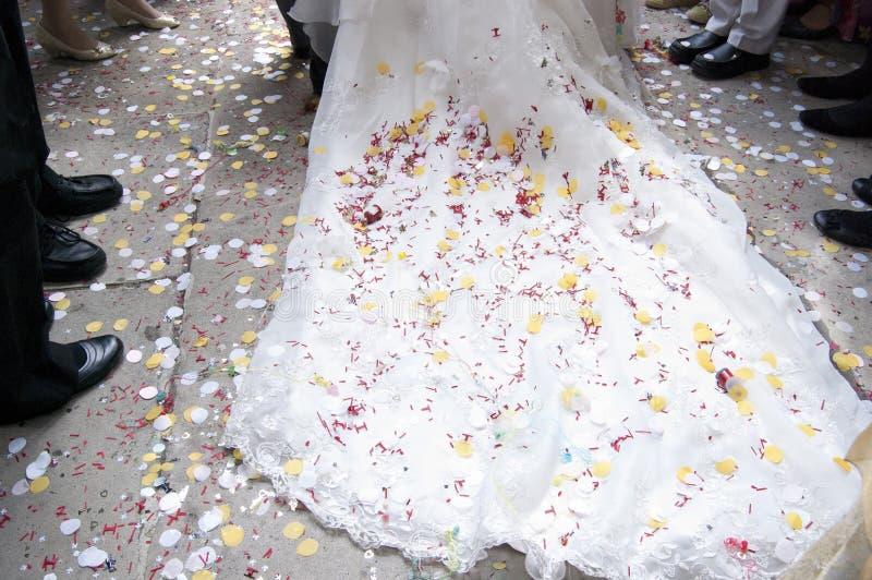 De Trein & de Confettien van het huwelijk stock foto