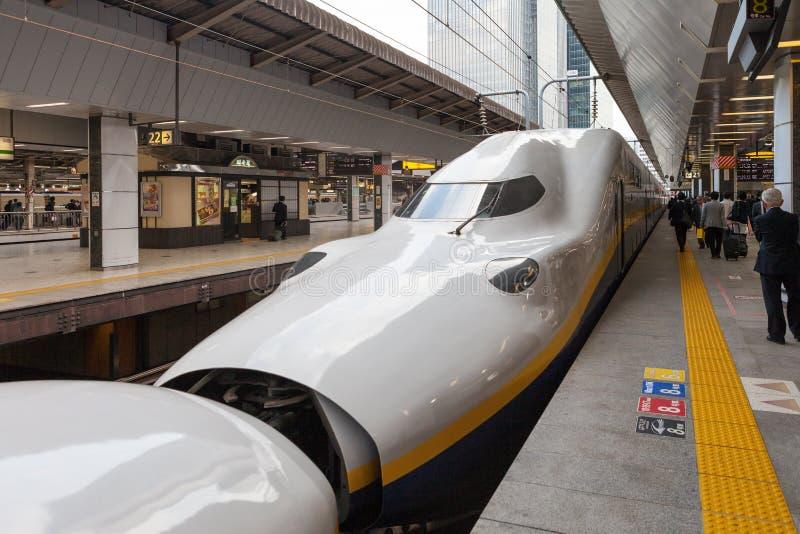 De trein E4 van de Reekskogel (Hoge snelheid of Shinkansen) royalty-vrije stock fotografie