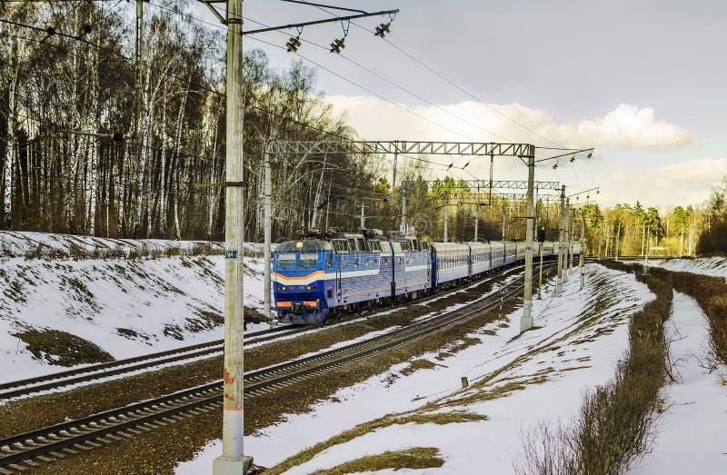De trein komt in Moskou aan royalty-vrije stock foto's