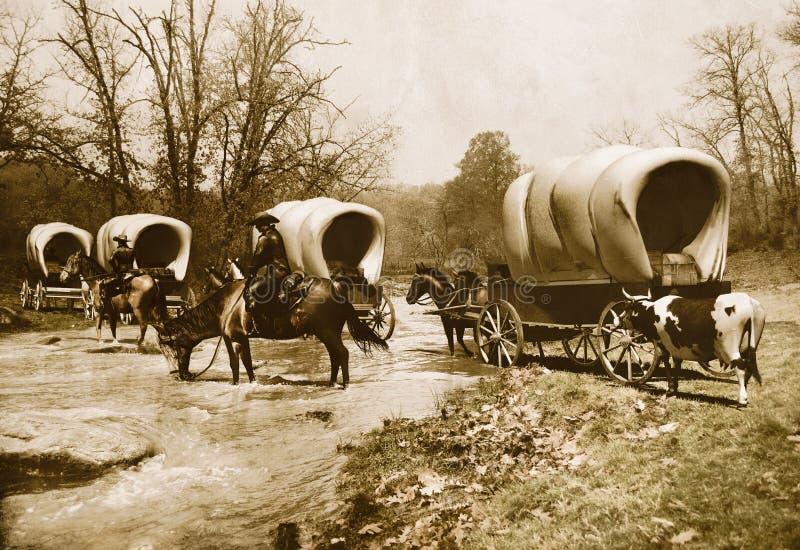 De trein oude sepia van de wagen vector illustratie