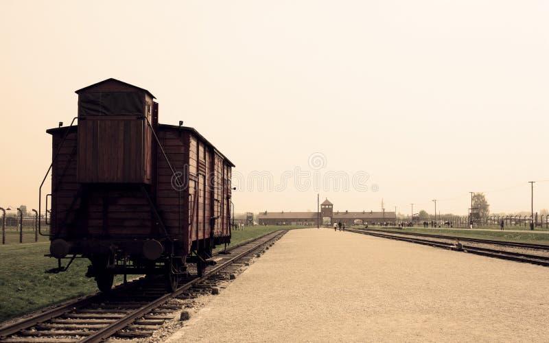 De trein van Auschwitz stock foto's