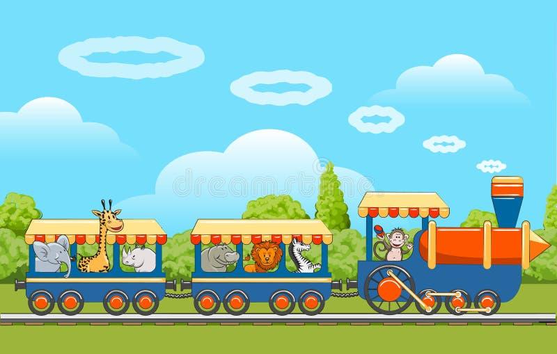 De trein van babydieren vector illustratie