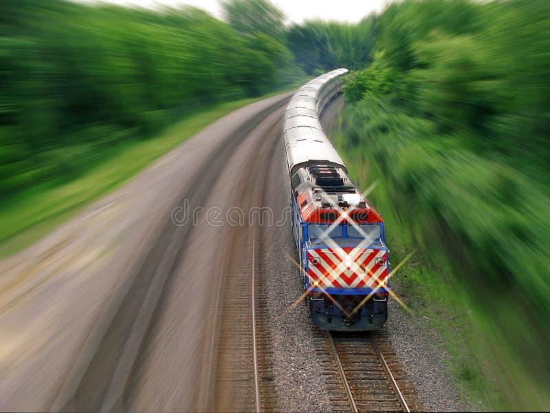 De trein van de passagier met motieonduidelijk beeld royalty-vrije stock fotografie