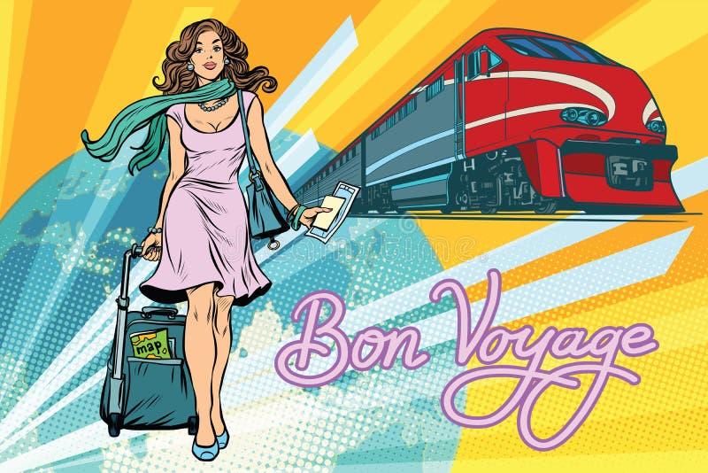 De trein van de spoorwegpassagier, Bon-reis stock illustratie