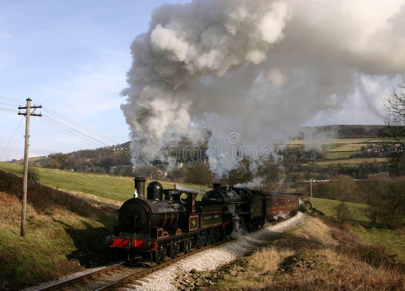 De Trein van de stoom in Land Bronte royalty-vrije stock afbeeldingen