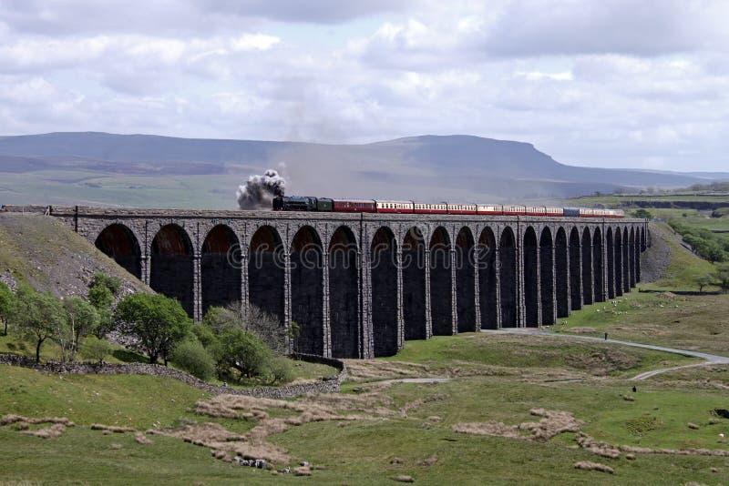 De trein van de stoom op Viaduct Ribblehead stock foto's