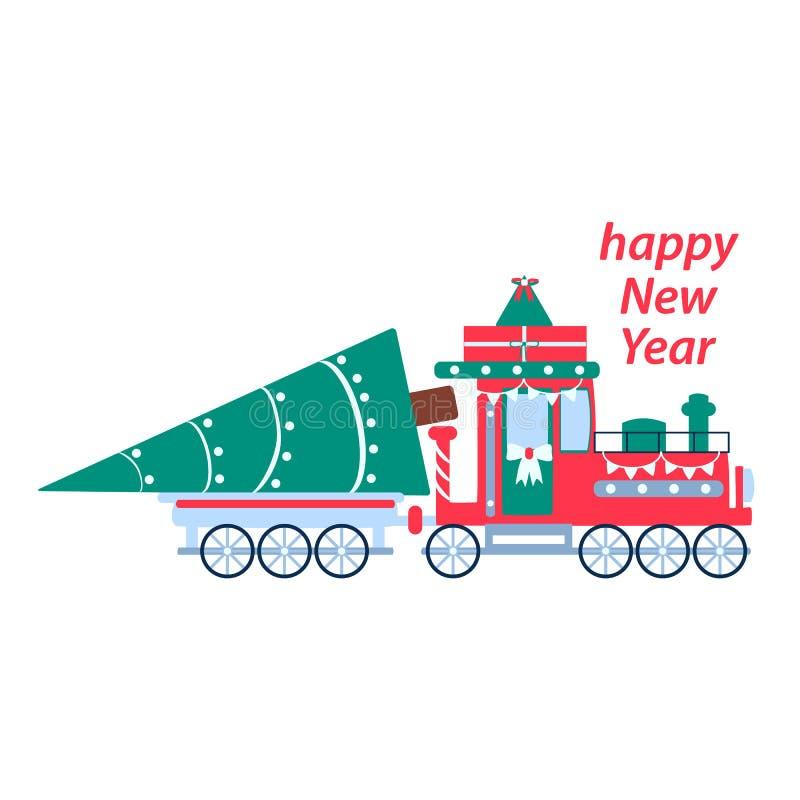 De trein van het nieuwjaar met een Kerstboom en giften Vectorprentbriefkaarillustratie in vlakke stijl vector illustratie