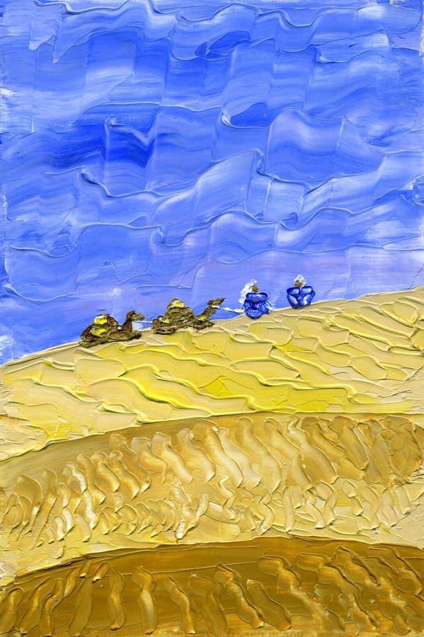 De trein van kamelen gaat door de woestijn royalty-vrije illustratie