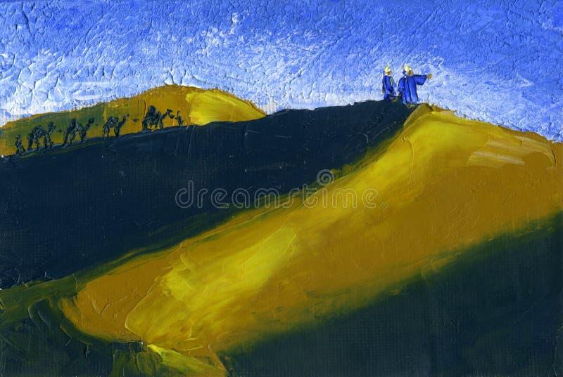 De trein van kamelen gaat door de woestijn Zonsondergang royalty-vrije illustratie