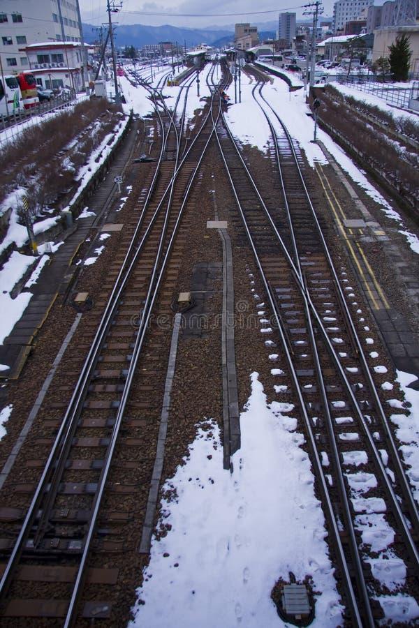 De trein volgt spoorweg royalty-vrije stock foto