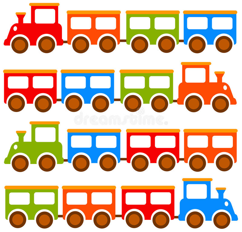 De treinen van het stuk speelgoed vector illustratie