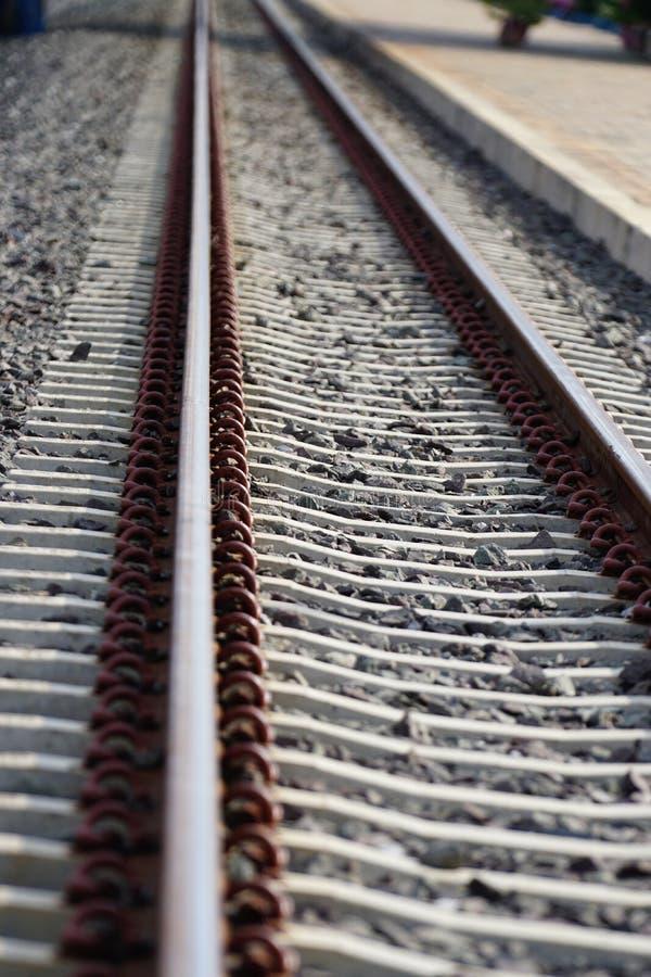 De Treinlengte van de post van het spoorwegspoor royalty-vrije stock fotografie