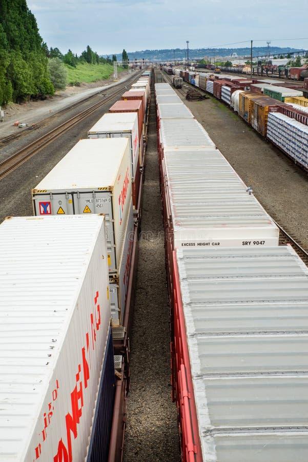 De treinwerf van Seattle Interbay bovenop doosauto's royalty-vrije stock foto's