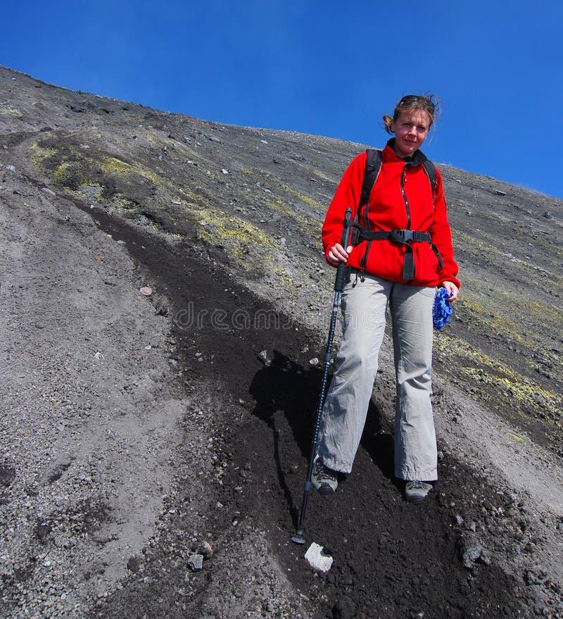 De trekking van Etna in Sicilië stock foto