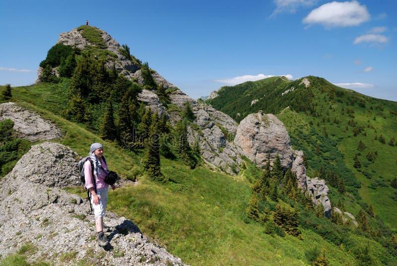 De trekking van het meisje in Karpatische Bergen royalty-vrije stock afbeelding