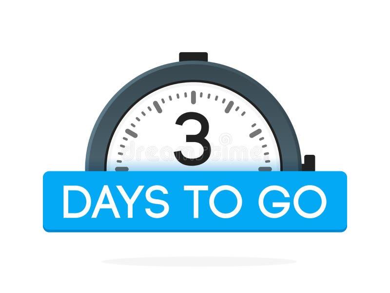 De tres días para ir etiqueta, plano del despertador con la cinta azul, icono de la promoción, el mejor illustretion del vector d stock de ilustración