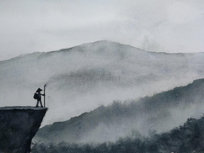 De tribune van de het silhouetmens van het waterverflandschap op de bergdekking met mist Traditionele oosterling de kunststijl va royalty-vrije illustratie