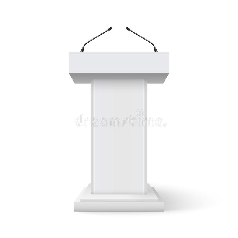 De tribune van de de rostratoespraak van het tribunepodium Conferentiestadium met microfoon, pers of preekstoel van de debat de s stock illustratie