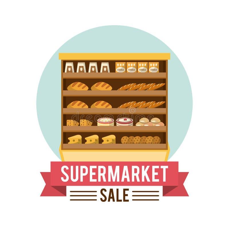 De tribune van de supermarktverkoop vector illustratie