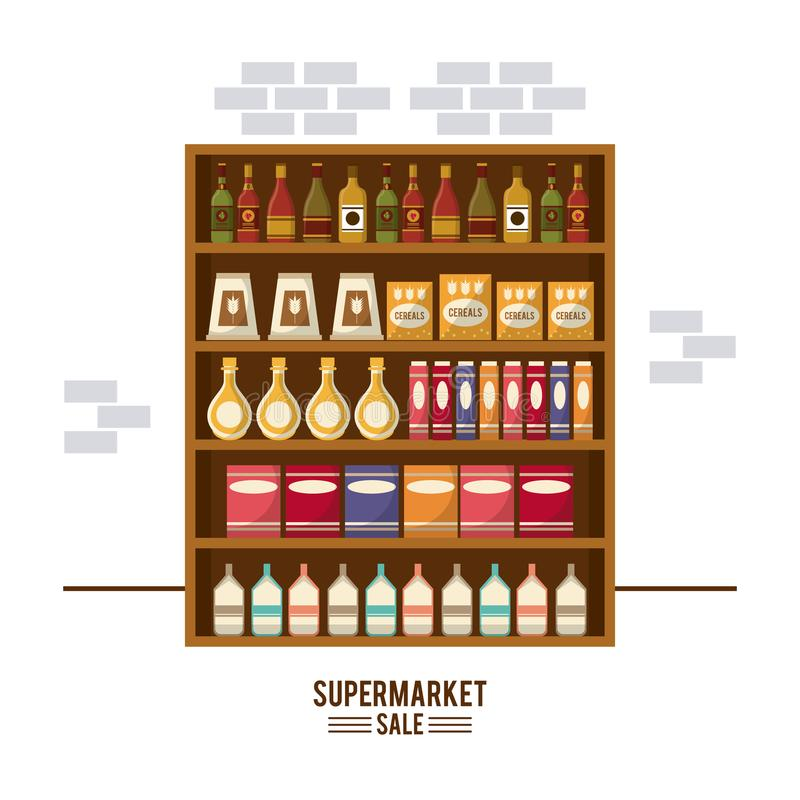De tribune van de supermarktverkoop stock illustratie