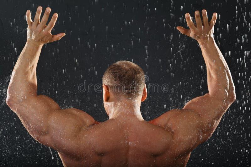 De tribunes van de bodybuilder in regen terug naar camera stock afbeelding