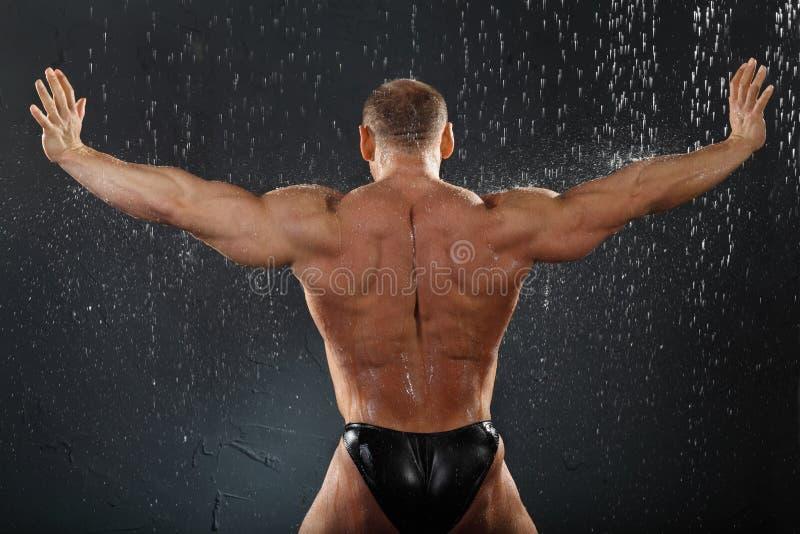 De tribunes van de bodybuilder in regen terug naar camera stock afbeeldingen