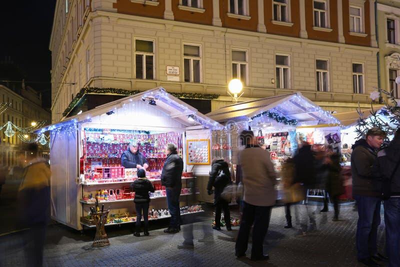 De tribunes van de Kerstmisherinnering in Zagreb royalty-vrije stock foto's