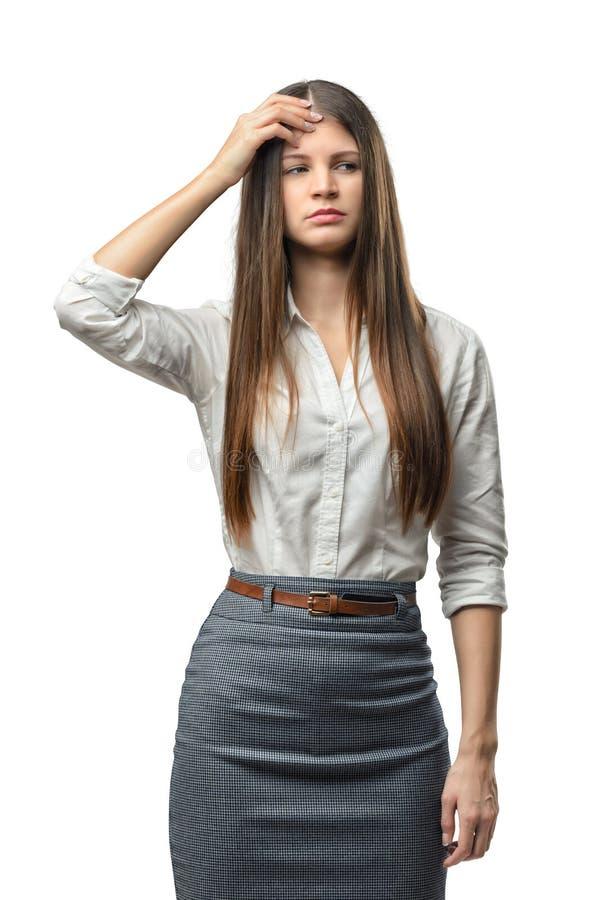 De tribunes van de knipselonderneemster wat betreft haar hoofd met de hand stock afbeelding
