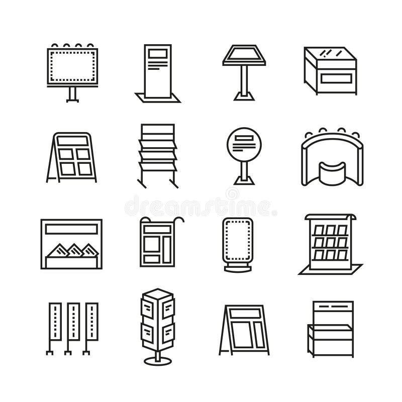 De tribunes van de tentoonstellingsbanner, de lijn vectorpictogrammen van de promovertoning vector illustratie