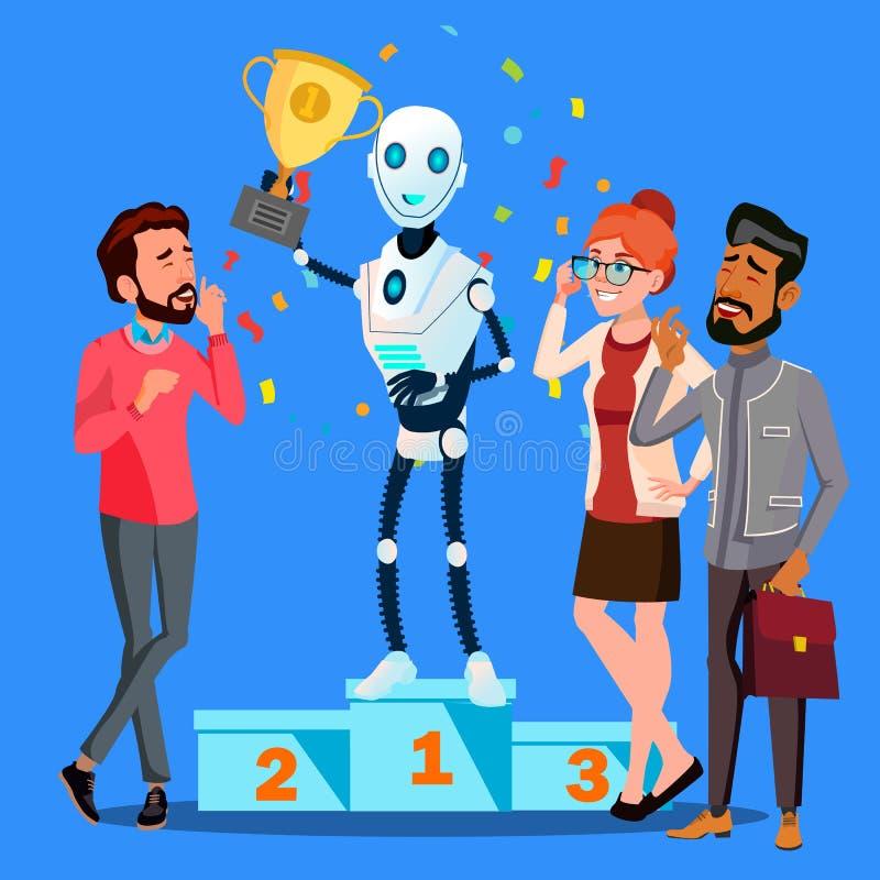 De Tribunes van de robotwinnaar op Eerste Plaats van Podium onder Mensenvector Geïsoleerdeo illustratie vector illustratie