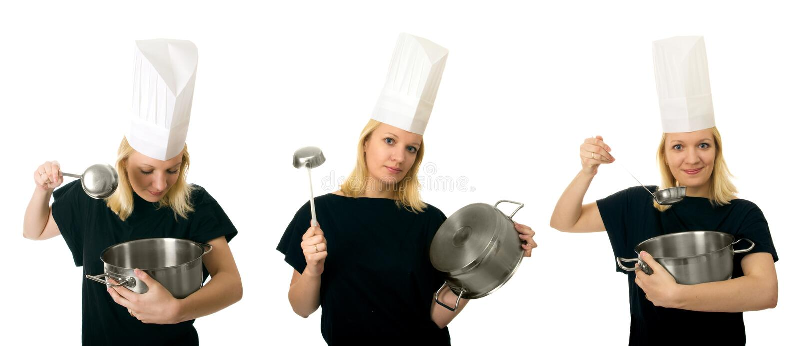de triptiek van chef-kokvrouwen stock foto