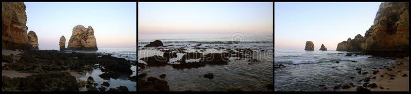 De triptiek van het strand stock foto's
