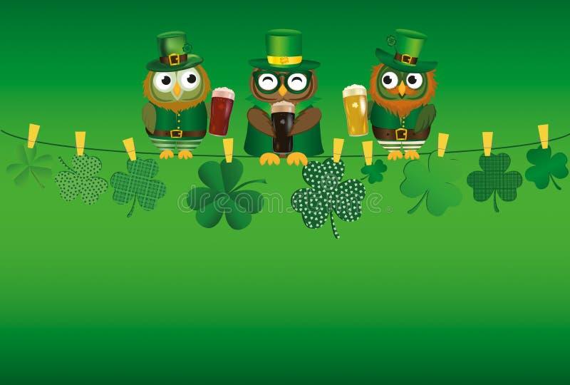 De triuilen van sovina verevke s Drie in nationaal kleding het drinken bier in glazen die op een kabel zitten Klaver vector illustratie