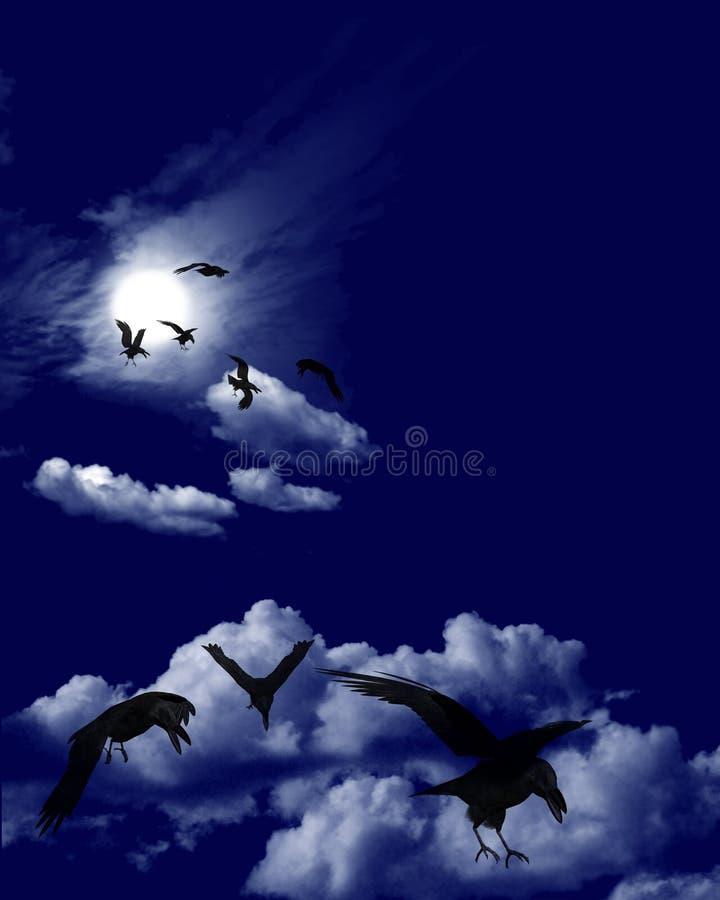 De Troep van de kraai in Maanbeschenen Skyscape royalty-vrije illustratie