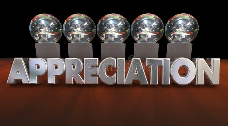 De Trofeeën die van de appreciatietoekenning Goede Peformance 3d Animati danken vector illustratie