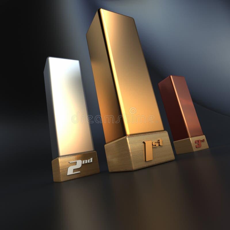 De trofeeën van de winnaar vector illustratie