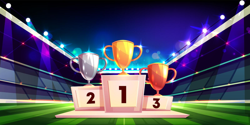 De trofeeën van de sportkop op de vector van het voetstukbeeldverhaal vector illustratie