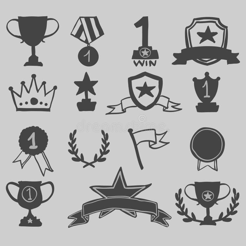 De trofee en de hand van toekenningspictogrammen trekken, vectorillustratie royalty-vrije illustratie