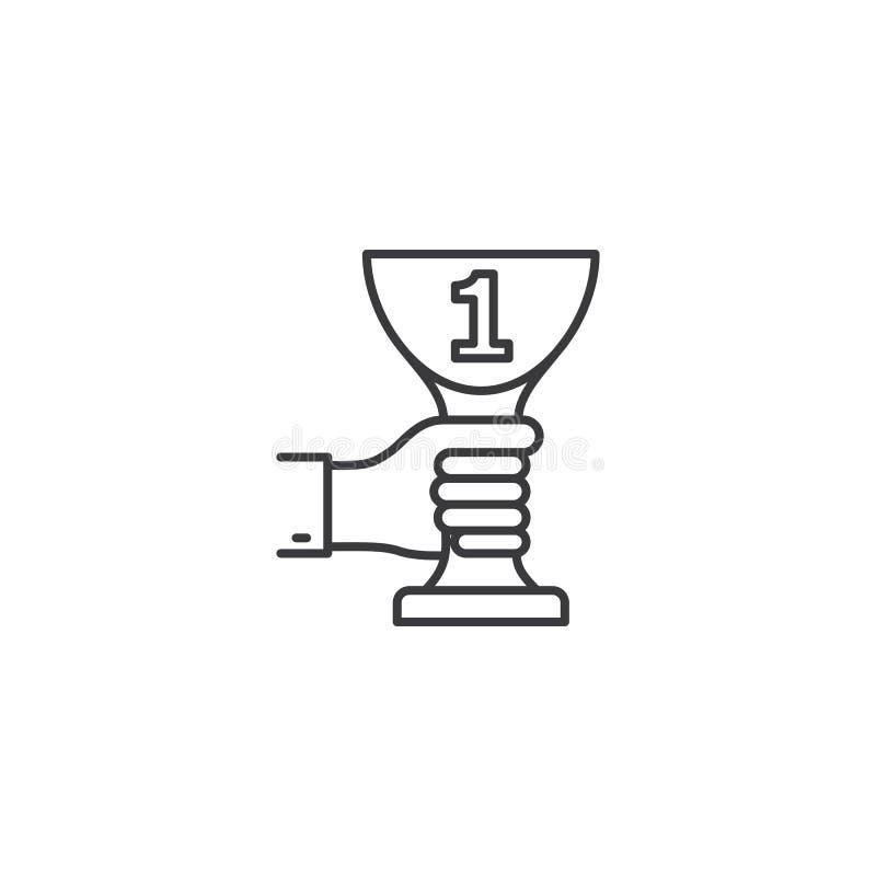 De trofee in hand pictogram van de lijn eerste plaats op witte achtergrond vector illustratie