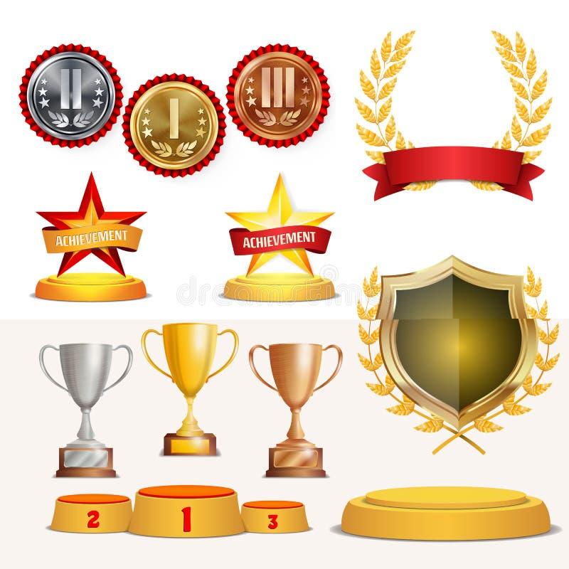 De trofee kent Koppen, Gouden Laurel Wreath With Red Ribbon en Gouden Schild toe Realistische Gouden, Zilveren, Bronsvoltooiing vector illustratie