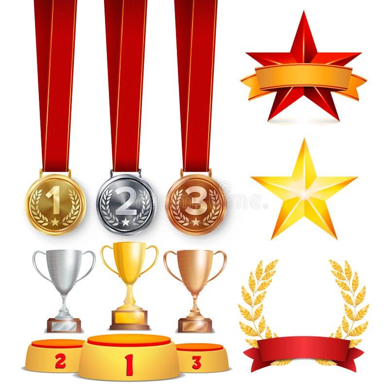 De trofee kent Koppen, Gouden Laurel Wreath With Red Ribbon en Gouden Schild toe Realistische Gouden, Zilveren, Bronsvoltooiing stock illustratie